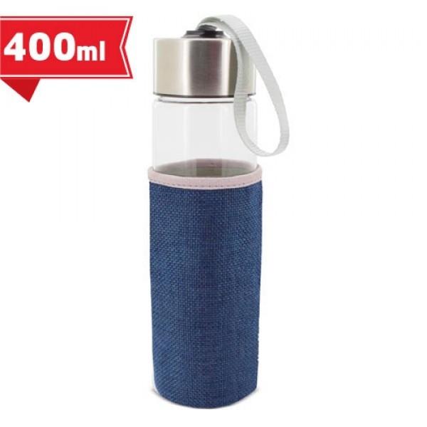 Γυάλινο Μπουκάλι με Θήκη 400ml (Z-9382) Διαφημιστικά Μπλουκάλια-Θερμό
